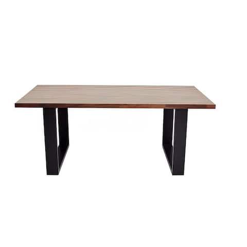 GANOLA Wood Dining Table - Dark Oak/Light Oak - Dark Oak/Light Oak