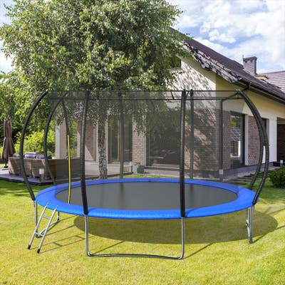 14FT Pumpkin-Shaped Trampolines With Enclosure Net And Safety Pad