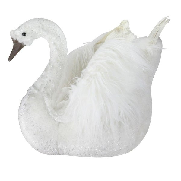 "18"" Sparkling White Swan Christmas Figure Decoration - brown"