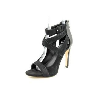 Calvin Klein Saren Women Open Toe Suede Black Sandals