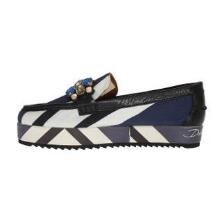 Dolce & Gabbana Multicolor Wool Leather Crystal Loafers - eu39-us8-5