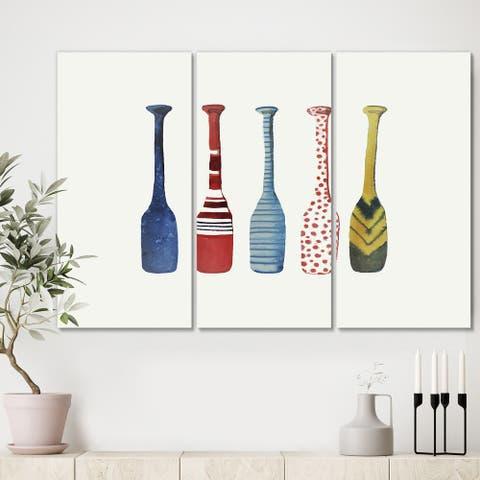 Designart 'Five Paddles' Lake House Canvas Wall Art - 36x28 - 3 Panels