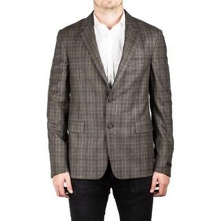 Prada Men's Virgin Wool Notched Lapel Sport Jacket Coat Blazer Plaid Bark Olive - 52