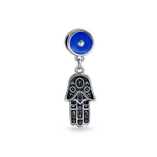 Hamsa Evil Eye Dangle Charm Bead .925 Sterling Silver