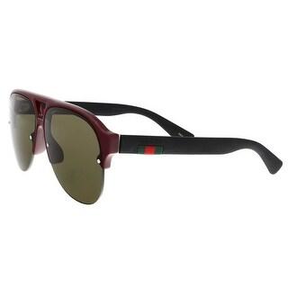 GUCCI GG0170S 004 Burgundy/Matte Black Pilot Sunglasses