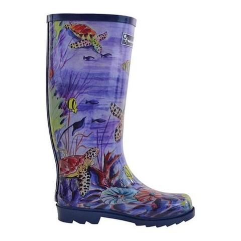 Anuschka Women's Tall Rain Boot Ocean Treasures Printed Rubber