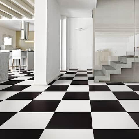 "SomerTile Klavier Matte Black 17.86"" x 17.86"" Porcelain Floor and Wall Tile"