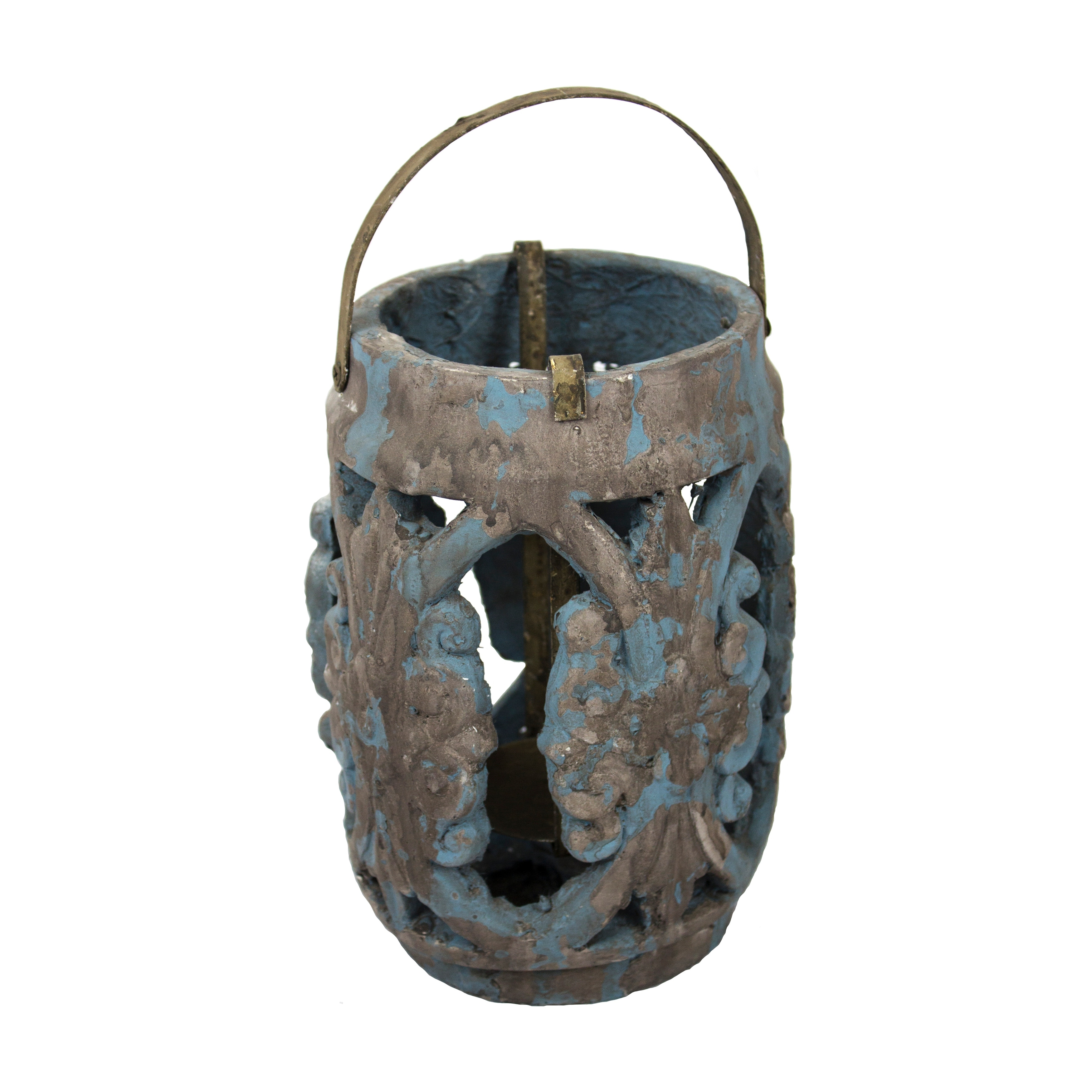 Cement Carved Lantern Candle Holder with Attached Handle, Small, Antique Blue