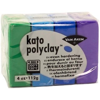 Cool-Green; Turquoise; Blue & Violet - Kato Polyclay 2Oz 4-Color Set