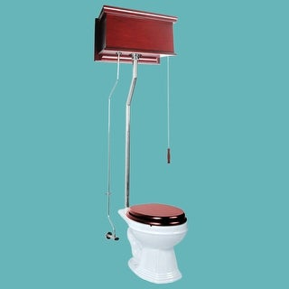 Cherry High Tank Pull Chain Toilet White Elongated Chrome