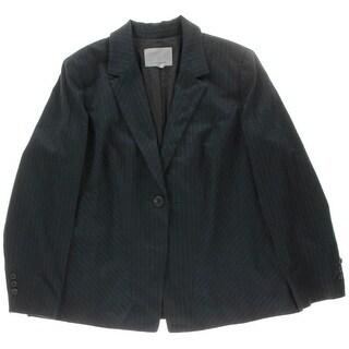 Classiques Entier Womens Plus Pinstripe One Button Blazer - 16W