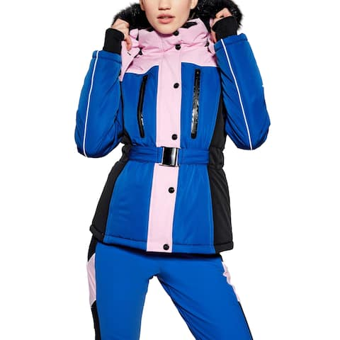 TopShop Womens Jacket Blue Size 10 Snow Fitted Colorblock Faux-Fur