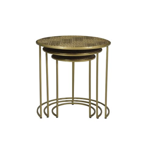 Rhu Home Nedir Iron Nesting Table Gold - set of 3