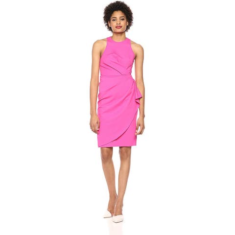 Laundry by Shelli Segal Women's Side-Twist Cocktail Dress, Lipstick Pink, 4