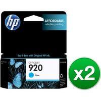 HP 920 Cyan Original Ink Cartridge (CH634AN)(2-Pack)