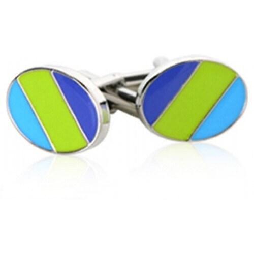 Green Blue Ovals Cufflinks Retro