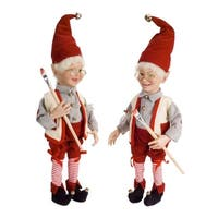 """Set of 2 Playful Smiling Christmas Painting Elves Decoration 22"""""""