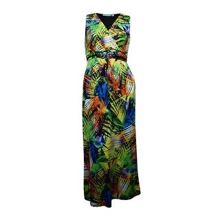 NY Collection Women's Empire Waist Embellished Leaf Print Dress - l