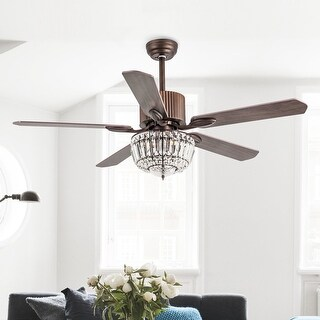 """52-inch Wood Metal 3-light Crystal 5-blades Ceiling Fan with Remote - 52"""""""