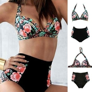 Swimsuits for Women Tassels High Waisted Peacock Print Swimwear Two Pieces Bathing Suits Top Bottom Bikini Set
