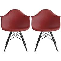 2xhome - Set of 2 -  Modern plastic Armchair With Arm Dining Chair Colors With Dark Black Wood Legs