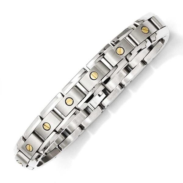 Chisel Titanium & 14k Inlay 8.25in Bracelet
