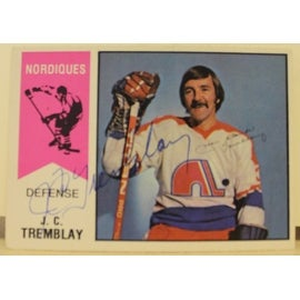 J.C. Tremblay Quebec Nordiques Autographed 1974-75 O-Pee-Chee Card