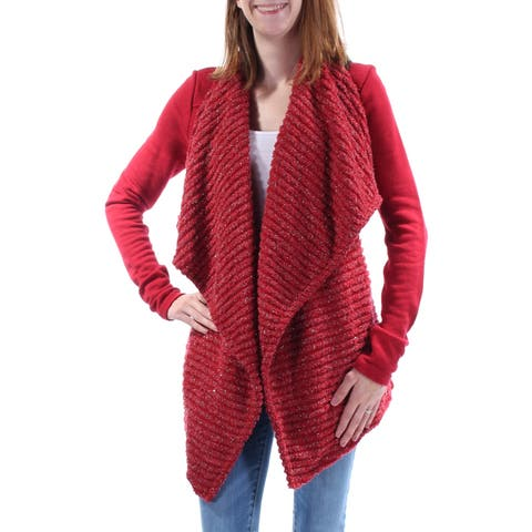LUCKY BRAND Womens Red Textured Long Sleeve Open Trapeze Sweater Size: XS