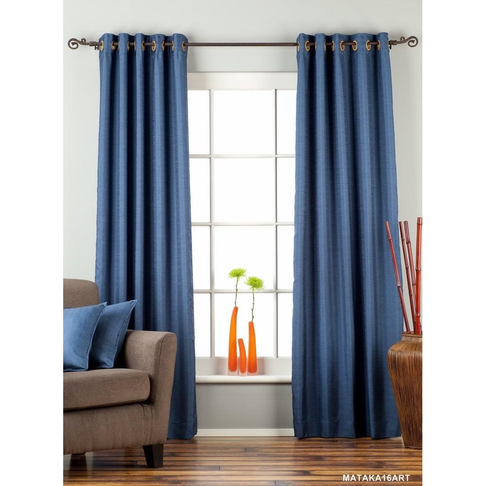 Blue Ring Top Matka Raw Silk Curtain / Drape / Panel - Piece. Opens flyout.