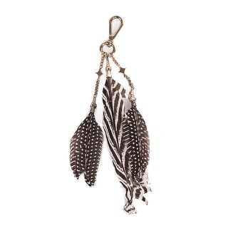 Roberto Cavalli Silver Brown Striped Speckled Triple Feather Keychain