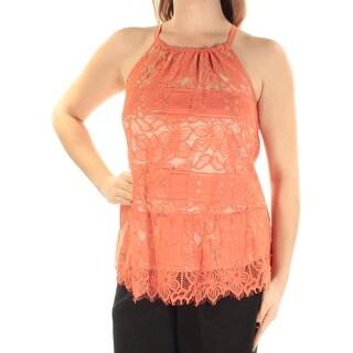 Womens Orange Sleeveless Jewel Neck Top Size 10