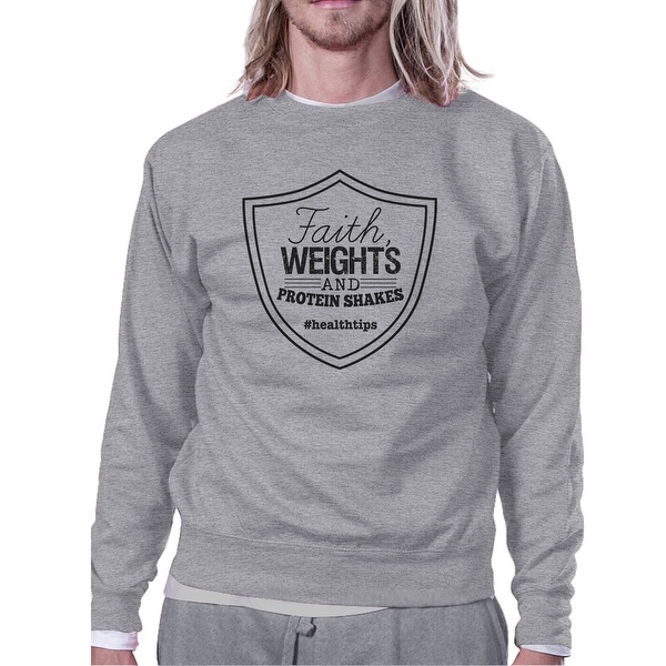 4af1d36583b7 Shop Faith Weights Unisex Grey Crewneck Sweatshirt Cute Graphic Pullover -  Free Shipping On Orders Over  45 - Overstock - 21474106