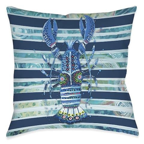 Blue Ocean Lobster Outdoor Pillow