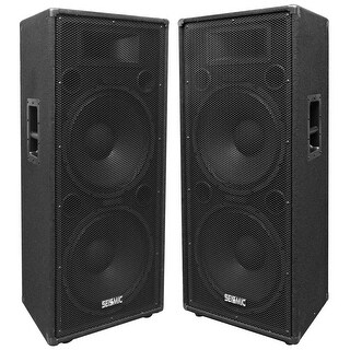 """Seismic Audio Pair of Dual 15"""" PA/DJ Speaker Cabinets with Titanium Horns Wheel Kit and Handle"""