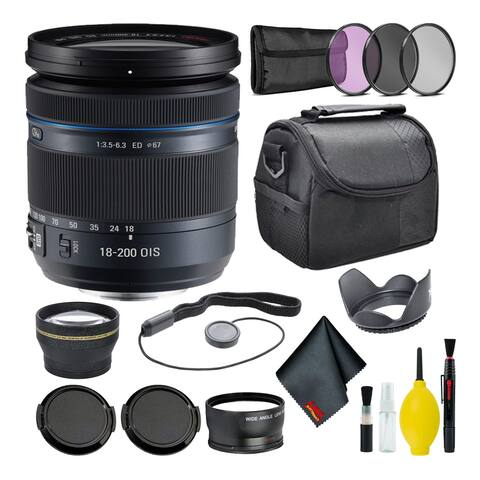 Samsung 18-200mm f/3.5-6.3 ED OIS Wide Angle Lens NX Mount + Warranty + Cleaning Kit + Case + Accessories Bundle