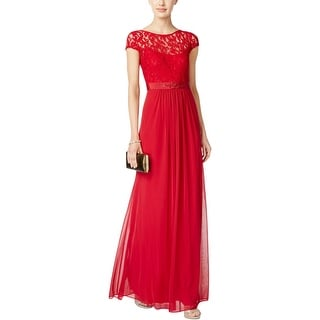 Adrianna Papell Womens Evening Dress Lace Embellished