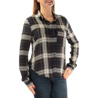 POLLY & ESTHER $34 Womens New 1343 Green Plaid Pocketed Top L Juniors B+B