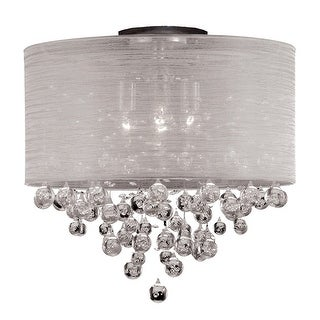 Modern 21-inch Crystal Flush Mount with 4 Lights and Silk Shade