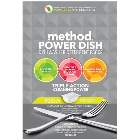 Method 01759 Power Dish Dishwasher Detergent Packs, Lemon Mint, 20-Count