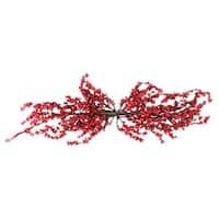 """31.5"""" Festive Artificial Red Berries Christmas Door Swag - Unlit - brown"""