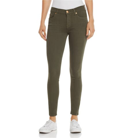 7 For All Mankind Womens Coated Skinny Fit Jeans