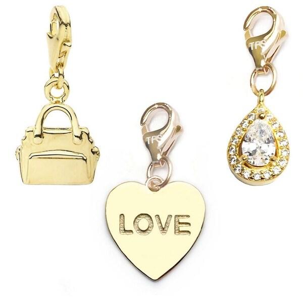 Julieta Jewelry Love Heart, Handbag, Teardrop 14k Gold Over Sterling Silver Clip-On Charm Set