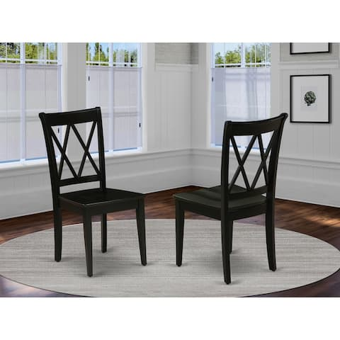 CLC-BLK-W Clarksville Double X-back Chairs in Black Finish (Set of 2)