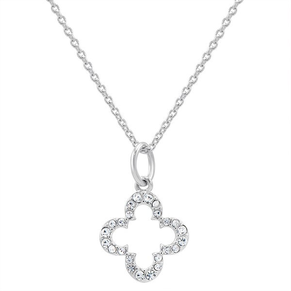 Marie Clair Petite Cubic Zirconia Clover Necklace in Sterling Silver on a 17 in. Chain