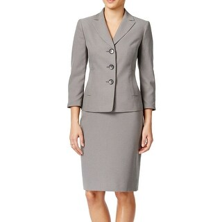 Le Suit NEW Gray Women's Size 16 Printed Notched-Collar Skirt Suit Set