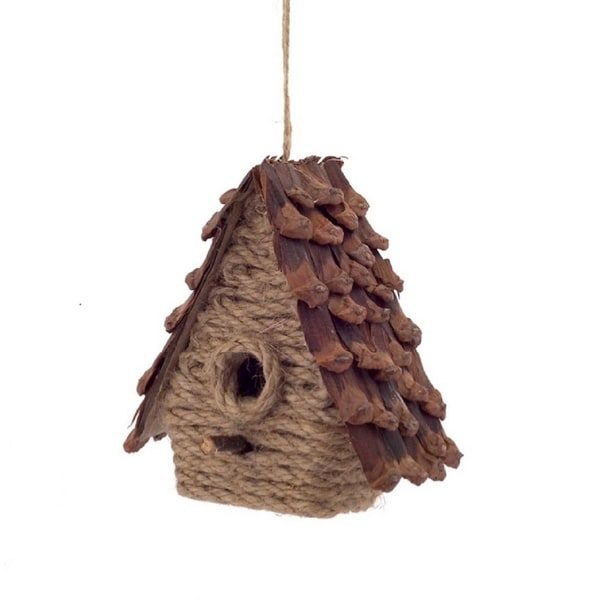 "5"" Country Cabin Style Jute and Pine Cone Birdhouse Christmas Ornament"