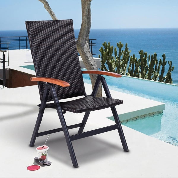 Costway Patio Folding Back Adjustable Aluminum Rattan Chair Lounger Recliner  Garden   Brown