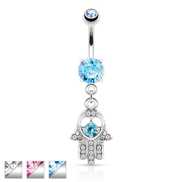 Hamsa with Colored CZ and Gem Paved Dangle Navel Ring
