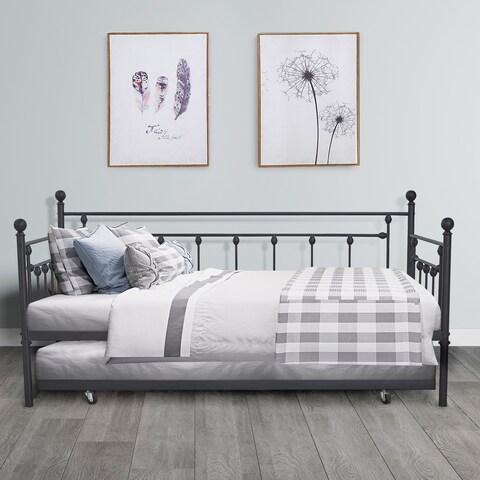VECELO Metal Daybed or Trundle Platform Bed Frame Twin Size