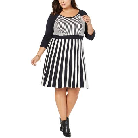 NY Collection Womens Stripes Sweater Dress, Blue, 3X